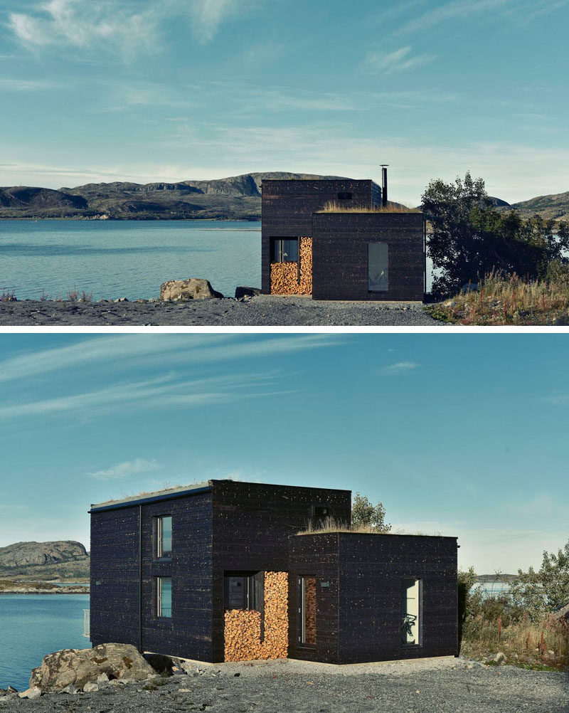 19 Examples Of Modern Scandinavian House Designs | This simple waterfront house is covered in blackened wood and features green roofs to help it minimize its environmental impact.