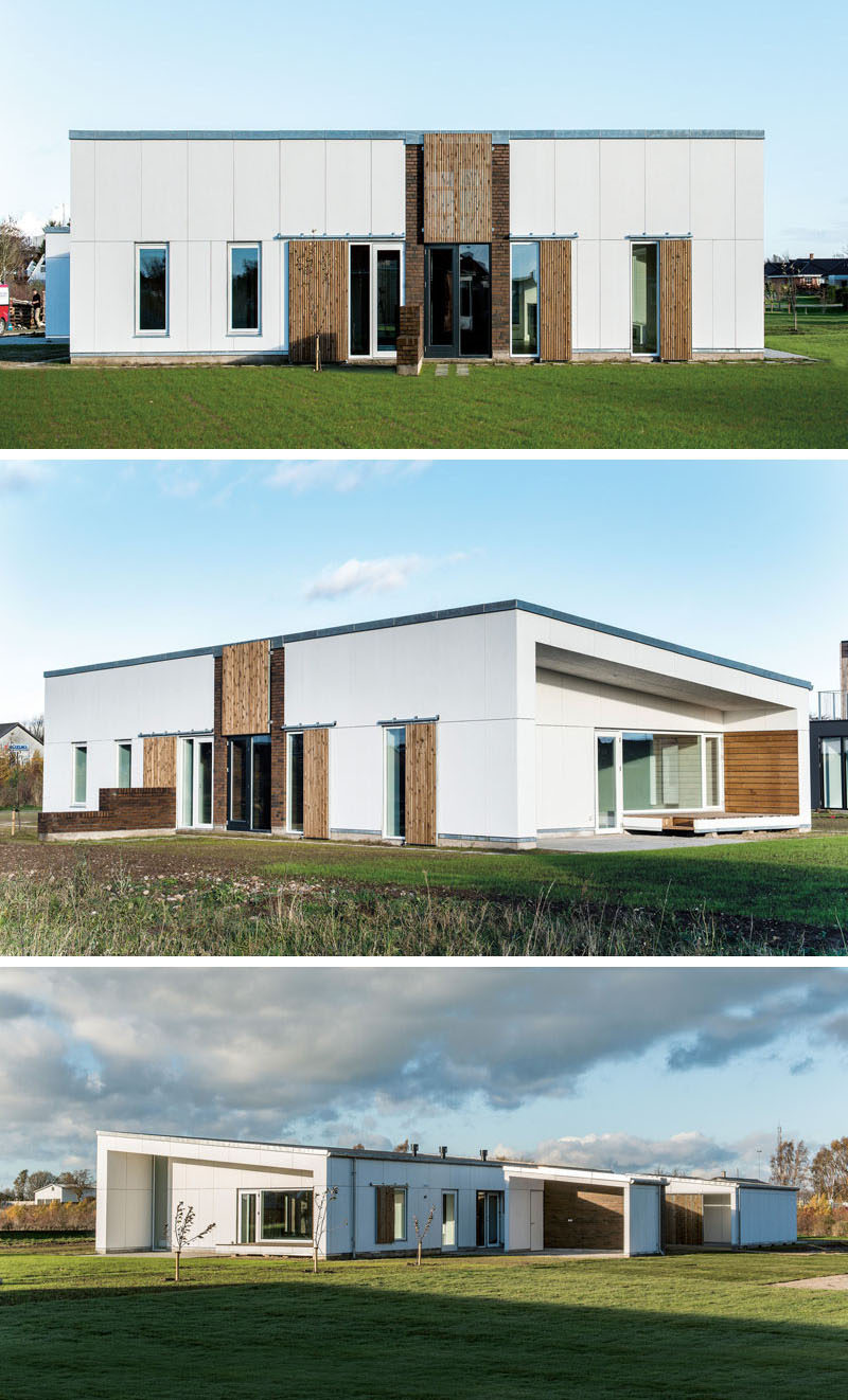 19 Examples Of Modern Scandinavian House Designs | Wood, bricks, and white siding have all been used on the exterior of this home to create a design that's clean, simple, functional and stylish.